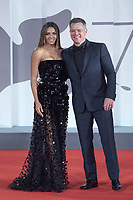 Matt Damon and Luciana Barroso attending The Last Duel Premiere as part of the 78th Venice International Film Festival in Venice, Italy on September 10, 2021. <br /> CAP/MPIIS<br /> ©MPIIS/Capital Pictures