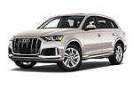 Stock pictures of low aggressive front three quarter view of 2020 Audi Q7 Premium 5 Door SUV Low Aggressive