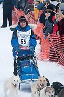 Hugh Neff team leaves the start line during the restart day of Iditarod 2009 in Willow, Alaska