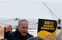 NEW YORK, NEW YORK- FEBRUARY 27, 2021: New York Senator Chuck Schumer delivers remarks and attends the American Asian Federation's Anti-Asian Hate Rally held at Foley Square/Federal Plaza in the lower Manhattan section of New York City on February 27, 2021.  Photo Credit: mpi43/MediaPunclh