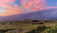 A sunset with pink and purple clouds over Mauna Kea, Big Island.