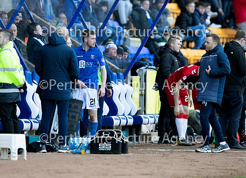 St Johnstone v Rangers…..23.02.20   McDiarmid Park   SPFL<br />Anthony Ralston talks with Alan Maybury after being replaced by Michael O'Halloran<br />Picture by Graeme Hart.<br />Copyright Perthshire Picture Agency<br />Tel: 01738 623350  Mobile: 07990 594431