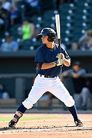 Shortstop Andres Gimenez (13) of the Columbia Fireflies bats in a game against the Augusta GreenJackets on Sunday, July 30, 2017, at Spirit Communications Park in Columbia, South Carolina. Augusta won, 6-0. (Tom Priddy/Four Seam Images)