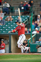 Rochester Red Wings first baseman ByungHo Park (52) at bat during the first game of a doubleheader against the Scranton/Wilkes-Barre RailRiders on August 23, 2017 at Frontier Field in Rochester, New York.  Rochester defeated Scranton 5-4 in a game that was originally started on August 22nd but postponed due to inclement weather.  (Mike Janes/Four Seam Images)