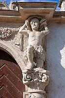 Door statues on The two Moors House (Két mór ház).  Rustic Baroque architecture - Sopron, Hungary