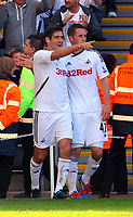 FAO SPORTS PICTURE DESK<br /> Pictured L-R: Danny Graham of Swansea  celebrating his goal with team mate Gylfi Sigurdsson. Sunday, 13 May 2012<br /> Re: Premier League football, Swansea City FC v Liverpool FC at the Liberty Stadium, south Wales.