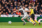 Daniel Carvajal Ramos (l) of Real Madrid fights for the ball with Emre Mor of Borussia Dortmund during the 2016-17 UEFA Champions League match between Real Madrid and Borussia Dortmund at the Santiago Bernabeu Stadium on 07 December 2016 in Madrid, Spain. Photo by Diego Gonzalez Souto / Power Sport Images