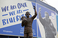 A general view of the Frederick Charles 'Fred' Keenor statue with the poster of Cardiff City Manager Neil Warnock celebrating behind him prior to kick off of the Sky Bet Championship match between Cardiff City and Birmingham City at The Cardiff City Stadium, Cardiff, Wales, UK. 11 March 2017