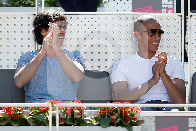 Atletico de Madrid's players Tiago Mendes (l) and Joao Miranda during Madrid Open Tennis 2015 match.May, 7, 2015.(ALTERPHOTOS/Acero)