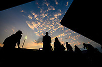 WASHINGTON, DC - AUGUST 1: Spectators watch on Stadium Court as players practice in the late afternoon at the 2021 Citi Open at Rock Creek Park Tennis Center on August 1, 2021 in Washington, DC.