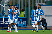 20th February 2021; The John Smiths Stadium, Huddersfield, Yorkshire, England; English Football League Championship Football, Huddersfield Town versus Swansea City; Lewis O'Brien of Huddersfield Town celebrates his goal  in the 48th minute which made the score 2-1