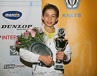 01-12-13,Netherlands, Almere,  National Tennis Center, Tennis, Winter Youth Circuit, Boys 16 years ,winner :  Amadatus Admiraal<br /> Photo: Henk Koster