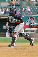 Catcher Jairo Rodriguez (11) of the New Britain Rock Cats throws to second base during a game against the Reading Fightin Phils at New Britain Stadium on July 13, 2014 in New Britain, Connecticut.  Reading defeated New Britain 6-4.   (Gregory Vasil/Four Seam Images)