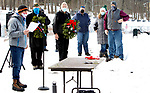 WOLCOTT CT. - 19 December 2020-121920SV04-A ceremony was held for Wreaths Across America in Wolcott Saturday. Wreaths Across America supplies wreaths for Arlington National Cemetery, has recognized Edgewood Cemetery in Wolcott as a participating cemetery in the Wreaths Across America Project. Volunteers placed 205 wreaths at the graves of U.S. Veterans that are buried at the cemetery.<br /> Steven Valenti Republican-American