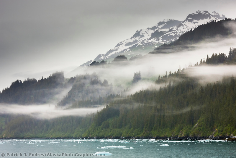 Clouds and mist hang in the Chugach National Forest, College Fjord, Prince William Sound, southcentral, Alaska.