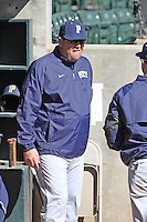 University of Pittsburgh head coach Joe Jordano #30 in the dugout  before a game against the Coastal Carolina University Chanticleers at Ticketreturn.com Field at Pelicans Ballpark on February 16, 2014 in Myrtle Beach, South Carolina. Pittsburgh defeated Coastal Carolina by the score of 10-6. (Robert Gurganus/Four Seam Images)