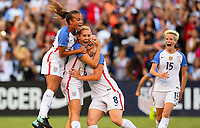 San Diego, CA - Sunday July 30, 2017: Mallory Pugh, Allie Long, Julie Ertz and the U.S. Women's national team celebrate their winning goal by defeating Brazil 4-3 during a 2017 Tournament of Nations match between the women's national teams of the United States (USA) and Brazil (BRA) at Qualcomm Stadium.