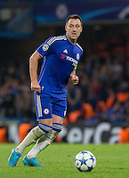 John Terry of Chelsea plays a pass during the UEFA Champions League Group G match between Chelsea and Dynamo Kyiv at Stamford Bridge, London, England on 4 November 2015. Photo by Andy Rowland.