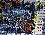 Rangers fans doing the conga up the steps during the match
