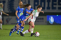 OHL's Luna Vanzeir (R) and Gent's Fran Meersman (L) pictured during a female soccer game between  AA Gent Ladies and Oud Heverlee Leuven on the 9th matchday of the 2020 - 2021 season of Belgian Scooore Womens Super League , friday 11 th of December 2020  in Oostakker , Belgium . PHOTO SPORTPIX.BE | SPP | DIRK VUYLSTEKE