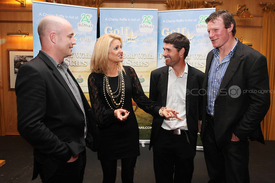 NO REPRO FEE. Pádraig Harrington and Bóthar's Golf With Stars. L-R Dennis Hickey, Niamh Mulqueen from Bothar, Pádraig Harrington and Malcom O Kelly are pictured at the K Club for Bóthar's Golf With Stars.  Sporting stars from all disciplines took to the greens of the K Club yesterday, Friday, October 22nd to play a round of golf with members of the general public who won places through Bóthar's Golf With Stars. The winners received their prizes from Pádraig Harrington in a ceremony yesterday evening. Proceeds from the raffle will go to towards supporting Bóthar's projects in Pakistan. For further information phone 1850 82 99 99 or log onto bothar.org. Picture James Horan/Collins Photos
