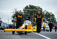 Sep 13, 2019; Mohnton, PA, USA; Crew members for NHRA top fuel driver Richie Crampton during qualifying for the Keystone Nationals at Maple Grove Raceway. Mandatory Credit: Mark J. Rebilas-USA TODAY Sports