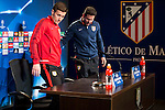 Gabi Fernandez and coach Diego Simeone during Atletico de Madrid's press conference the day before the EUFA Champions League match between Atletico de Madrid and FC. Barcelona at Vicente Calderon in Madrid. April 13, 2016. (ALTERPHOTOS/Borja B.Hojas)