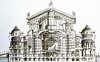 Sketch of Palais Garnier Opera House, Paris, built from 1861 to 1875. Interior elevation.