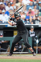 Mississippi State Bulldogs shortstop Jordan Westburg (11) at bat during Game 5 of the NCAA College World Series against the Auburn Tigers on June 16, 2019 at TD Ameritrade Park in Omaha, Nebraska. Mississippi State defeated Auburn 5-4 6-3. (Andrew Woolley/Four Seam Images)