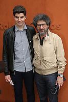 Radu Mihaileanu and his son Yuri seen at 'Le Village de Roland Garros' during Roland Garros tennis open 2016 on may 29 2016.