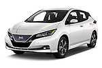 2020 Nissan Leaf SV 5 Door Hatchback Angular Front automotive stock photos of front three quarter view