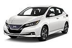 2020 Nissan Leaf SV 5 Door Hatchback Angular Front automotive stock photos of front three quarter view