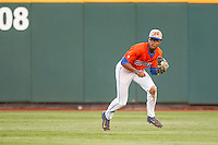 Florida Gators outfielder Buddy Reed (23) on defense against the Virginia Cavaliers in Game 13 of the NCAA College World Series on June 20, 2015 at TD Ameritrade Park in Omaha, Nebraska. The Cavaliers beat the Gators 5-4. (Andrew Woolley/Four Seam Images)