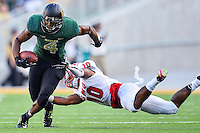 Baylor wide receiver Jay Lee (4) is defend by SMU defensive back Ajee Montes (10) during first half of NCAA inaugural Football game at newly constructed McLean Stadium, Sunday, August 31, 2014 in Waco, Tex. Baylor leads SMU 31-0 in the first half. (Mo Khursheed/TFV Media via AP Images)