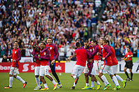 Seattle, WA - Thursday, June 16, 2016: United States forward Clint Dempsey (8) and team celebrate the win after the Quarterfinal of the 2016 Copa America Centenrio at CenturyLink Field.