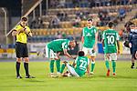 12.09.2020, Ernst-Abbe-Sportfeld, Jena, GER, DFB-Pokal, 1. Runde, FC Carl Zeiss Jena vs SV Werder Bremen<br /> <br /> <br /> Foul an Tahith Chong (Werder Bremen #22) Verletzung / verletzt / Schmerzen<br /> Daniel Siebert (Schiedsrichter / Referee)<br /> Ömer / Oemer Toprak (Werder Bremen #21)<br /> Niklas Moisander (Werder Bremen #18 Kapitaen)<br /> Leonardo Bittencourt  (Werder Bremen #10)<br /> <br />  <br /> <br /> <br /> Foto © nordphoto / Kokenge