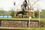 24 April 2010. Buckingham Place and Tara Ziegler fall over the Sink Hole jump during the Cross Country test at the Rolex Three Day Event in Lexington, Ky.