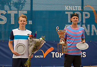 Amstelveen, Netherlands, 1 August 2020, NTC, National Tennis Center, National Tennis Championships, Men's final: Prizegiving runner up Jesper de Jong (NED) (L) and the winner Gijs Brouwer (NED)<br /> Photo: Henk Koster/tennisimages.com