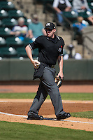 Home plate umpire Chase Eade during the Carolina League game between the Carolina Mudcats and the Winston-Salem Dash at BB&T Ballpark on April 22, 2015 in Winston-Salem, North Carolina.  The Dash defeated the Mudcats 4-2..  (Brian Westerholt/Four Seam Images)