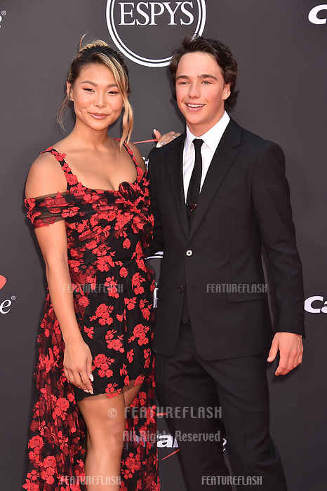 LOS ANGELES, USA. July 10, 2019: Chloe Kim & Toby Miller at the 2019 ESPY Awards at the Microsoft Theatre LA Live.<br /> Picture: Paul Smith/Featureflash