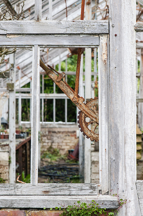 Dilapidated glasshouse, Borde Hill Gardens, Sussex.