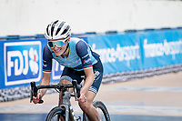Lizzie Deignan (GBR/Trek-Segafredo) rolling over the finish line smiling with 1 lap to go, because she is certain to finish off her 80+ km breakaway successfully and become the very first Paris-Roubaix Femmes winner in history.<br /> <br /> Inaugural Paris-Roubaix Femmes 2021 (1.WWT)<br /> One day race from Denain to Roubaix (FRA)(116.4km)<br /> <br /> ©kramon