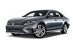 Stock pictures of low aggressive front three quarter view of 2017 Volkswagen Passat R-Line 4 Door Sedan Low Aggressive