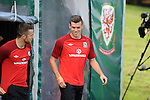 Real Madrid signing Gareth Bale training with the Wales Football squad at the Vale Resort near Cardiff today as Manager Chris Coleman confirmed that he will travel to Macedonia for Friday's World Cup qualifier.