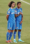 Getafe CF's Marc Cucurella (l) and Damian Suarez during friendly match. August 10,2019. (ALTERPHOTOS/Acero)