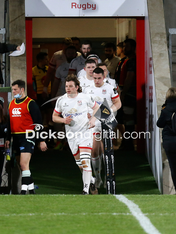 26 February 2021; Jordi Murphy leads the Ulster out during the Guinness PRO14 match between Ulster and Ospreys at Kingspan Stadium in Belfast. Photo by John Dickson/Dicksondigital