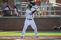 Johnny Sewald (9) of the Buies Creek Astros at bat against the Wilmington Blue Rocks at Jim Perry Stadium on April 29, 2017 in Buies Creek, North Carolina.  The Astros defeated the Blue Rocks 3-0.  (Brian Westerholt/Four Seam Images)