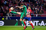 Nemanja Pejcinovic (L) of FC Lokomotiv Moscow fights for the ball with Angel Correa of Atletico de Madrid during the UEFA Europa League 2017-18 Round of 16 (1st leg) match between Atletico de Madrid and FC Lokomotiv Moscow at Wanda Metropolitano  on March 08 2018 in Madrid, Spain. Photo by Diego Souto / Power Sport Images