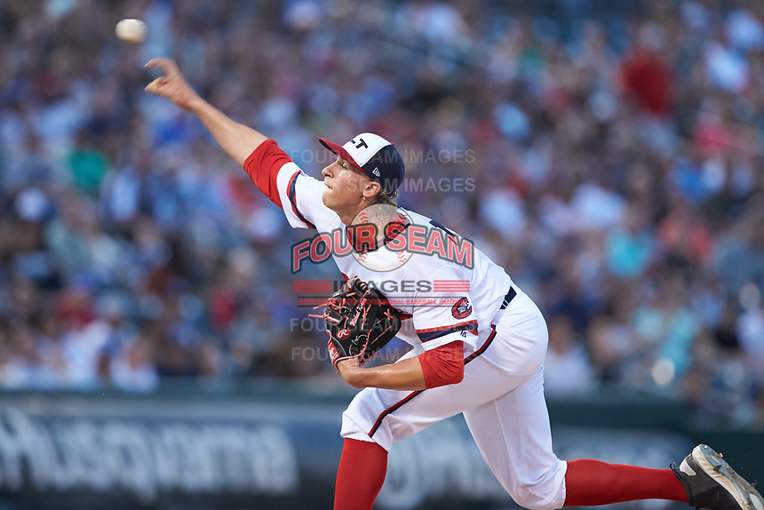 Charlotte Knights starting pitcher Michael Kopech (34) delivers a pitch to the plate against the Scranton/Wilkes-Barre RailRiders at BB&T BallPark on April 14, 2018 in Charlotte, North Carolina.  The RailRiders defeated the Knights 10-5.  (Brian Westerholt/Four Seam Images)
