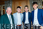 L-R Johnny Brosnan, mark O'Donoghue, Eamonn Nolan and catcall O'Donoghue enjoying the Cordal GAA annual barbecue in the Ballygarry house hotel, Tralee last Saturday night.